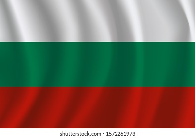 Bulgarian National Flag waving in the wind giving an undulating texture of folds in the fabric.