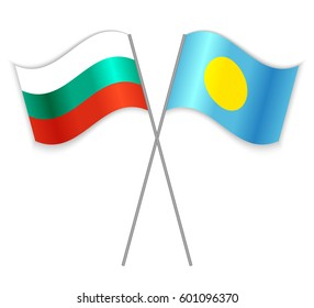 Bulgarian and Palauan crossed flags. Bulgaria combined with Palau isolated on white. Language learning, international business or travel concept.