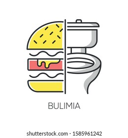 Bulimia color icon. Eating disorder. Depression and anxiety. Vomiting food in bathroom. Unhealthy hunger. Binge eating from stress. Psychological issue. Mental disorder. Isolated vector illustration