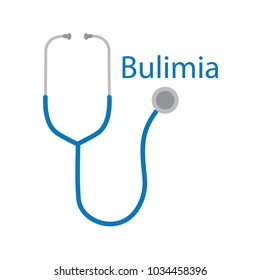 Bulimia text and stethoscope icon- vector illustration