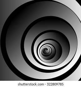 Bulk twisted into a spiral fractal monochrome optical illusion, convex, then goes back to himself, on a black background.