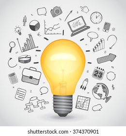 Bulk yellow lamp with hand-drawn icons, vector illustration