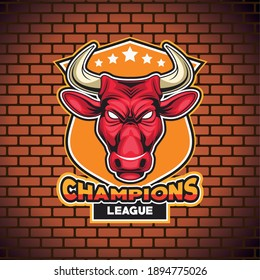 bull animal wild head character with lettering in wall vector illustration design