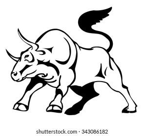 bull attacks, stylized vector illustration
