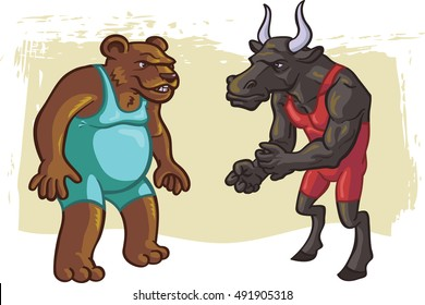 The bull and the bear battle it out in a stock market wrestling match