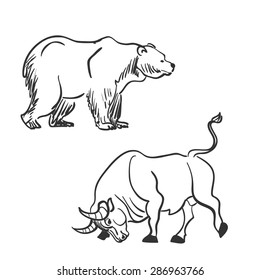 bull and bear financial doodle icons. excellent vector illustration, EPS 10