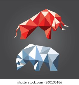 Bull and bear in the geometric style. Symbols of stock market trends. Vector illustration.