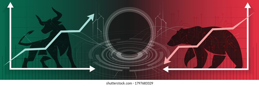 Bull or Bear market trend in crypto currency or stocks. Trade exchange background, up & down arrow graphs. Bullish & bearish Cryptocurrency price & blockchain technology. Global economy boom or crash.