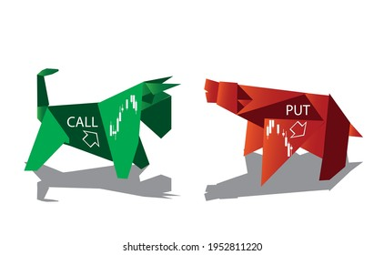 Bull and bear shapes that look like made of origami paper with symbols of stock market trends. Forex, Trading, market