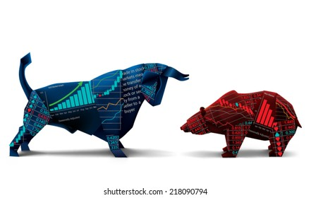 Bull and bear shapes that look like made of origami paper with symbols of stock market trends on them. Vector illustration.