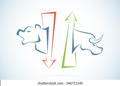 bull and bear symbols with green and red arrows, stock market and business concept