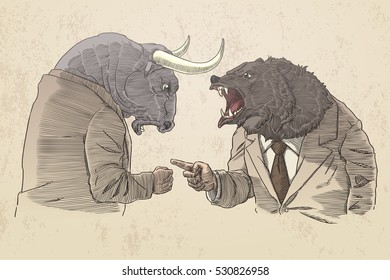 Bull and bear for trader, in sepia