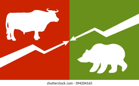 Bull and bear. Traders at stock exchange. Business allegory. Fall and rise of quotations. Down arrow and up arrow. Business characters. Green Zone and red zone on stock exchange