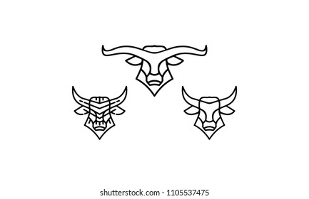 bull beef horn line art logo vector