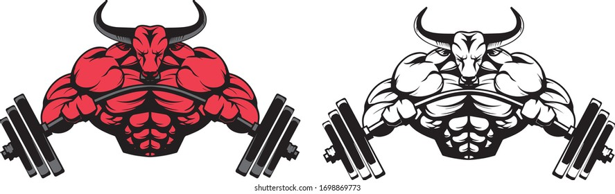 bull for bodybuilding logos vector