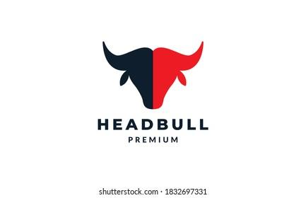 bull or buffalo or bison head silhouette modern logo vector illustration design