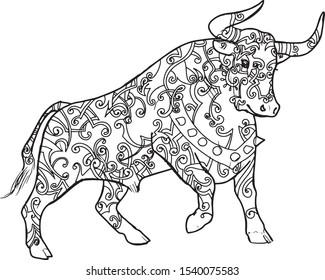 bull buffalo logo icon tattoo illustration print line vector