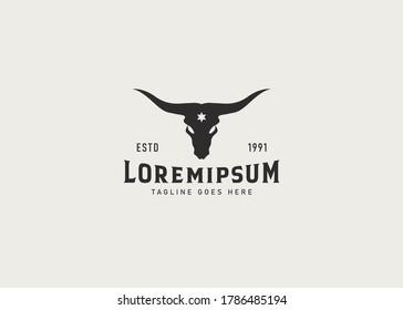 Bull Buffalo Longhorn Skull Vintage logo design inspiration