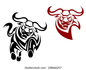Bull and buffalo mascots isolated on white background as a logo. Jpeg version also available in gallery