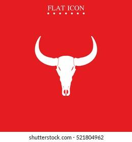 Bull or Buffalo skull vector icon. Cattle silhouette logo.