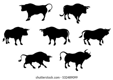 Bull cattle animal silhouettes