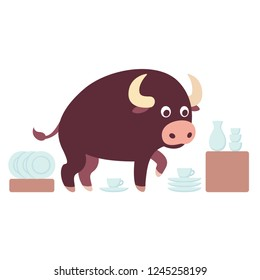 Bull in a china shop saying, funny drawing of an idiom. Cute cartoon bull surrounded with crockery. Isolated vector illustration.