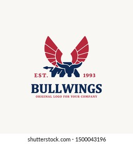 Bull, cow, buffalo logo with wing logo design template. Creative animal logo design inspiration. can be used as symbols, brand identity, company logo, icons, or others. Color and text can be changed.