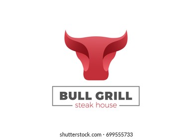 Bull Cow Head Logo design vector template. Grill Meat Barbecue BBQ Steak House Logotype concept icon.