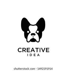 bull dog head logo icon design vector illustration