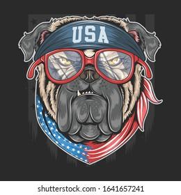 BULL DOG USA AMERICA FLAG WITH BANDANA VECTOR ARTWORK WITH EDITABLE LAYERS