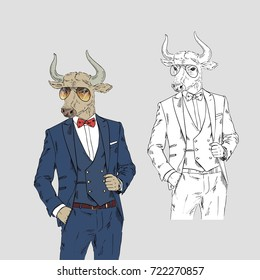 bull dressed up in classy style, anthropomorphic illustration, fashion animals