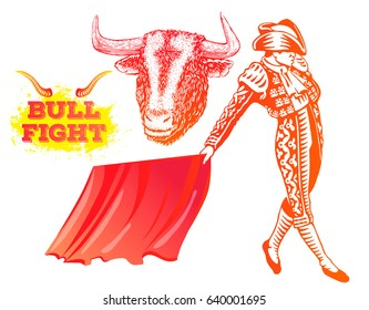 Bull fight, matador, bullfighter. Bull head illustration in engraving style. Hand drawn vector illustration of toreador. Red elements isolated on white background