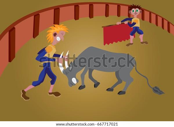 bull fight men tackling a bull in a bullfight