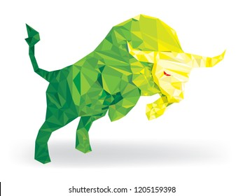 Bull geomatric pattern lowpolygon, Bullish symbols on stock market vector illustration. vector Forex or commodity charts, on abstract background. The symbol of the the bull. The growing  market.