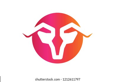 bull, goat, horn logo Designs Inspiration Isolated on White Background