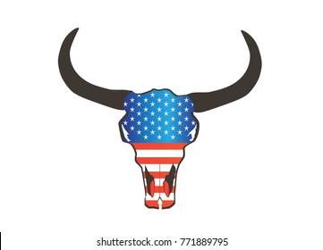 Bull head American flag, Animal skull