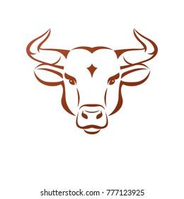 Bull head ancient emblem animal element. Heraldic vector design element. Retro style label, heraldry logo.