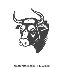 Bull head emblem isolated on white background. Design element for logo, label, sign, brand mark. Vector illustration.