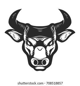 Bull head icon isolated on white background. Design element for poster, t-shirt, emblem, sign. Vector illustration