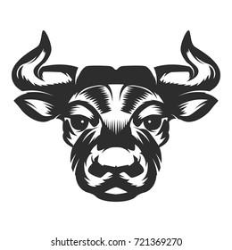 Bull head icon on white background. Design element for logo, label, emblem, sign. Vector illustration