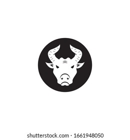 Bull head icon and symbol vector template on white background