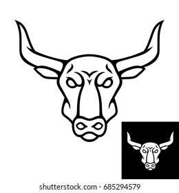 Bull head logo or icon. Black color. Inversion version included. Stock vector illustration