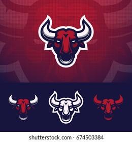 Bull head m ascot logo design. Eps10 vector illustration.