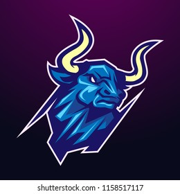 bull head mascot sporty and strong logo illustration concept