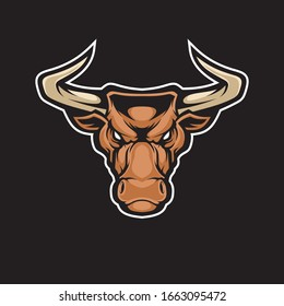 Bull head mascot. Vector illustration for use as print, poster, sticker, logo, tattoo, emblem and other.