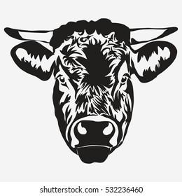 Bull head on white background, butcher Farm Animal. Meat farming emblem. Vector