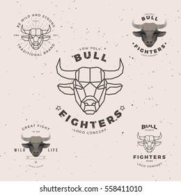 bull head, vintage low poly logo set