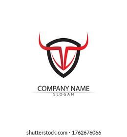 Bull horn and buffalo logo and symbols template icons app vector animal