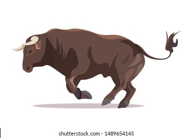 Bull in jumping pose flat vector illustration. Furious male cattle with sharp horns isolated on white background. Aggressive ox in motion. Strong bovine, farm animal attacking position, goring stand