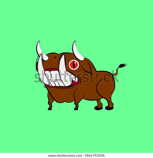 bull laughing out loud, streetwear or t-shirt design
